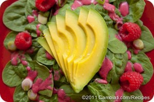 Spinach, Raspberry, and Avocado Salad with Lemon & Raspberry Dressing