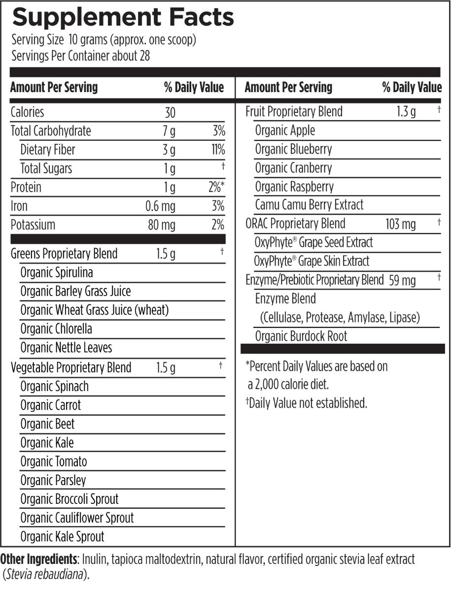 EssentiaGreens 285 g (10 oz) Designs for Health Ingredients