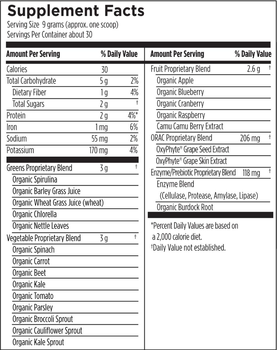 PaleoGreens Unflavored 270 g (9.5 oz) Designs for Health Ingredients