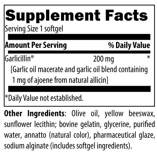 Allicillin Nutrition Label