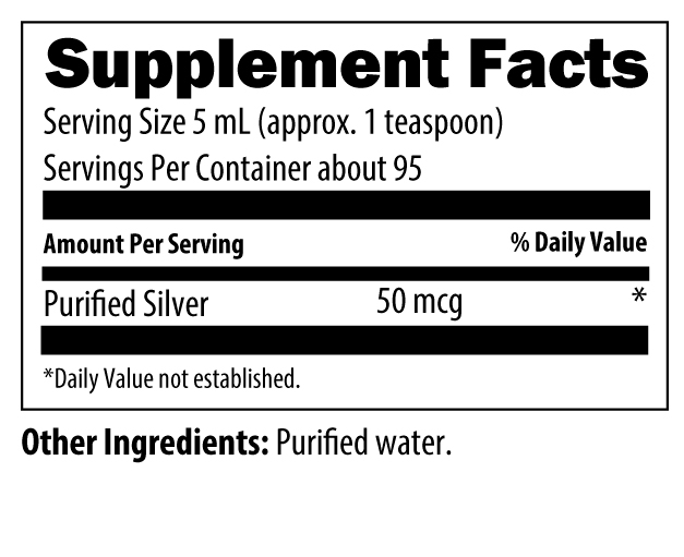 Silvercillin Liquid Nutrition Label