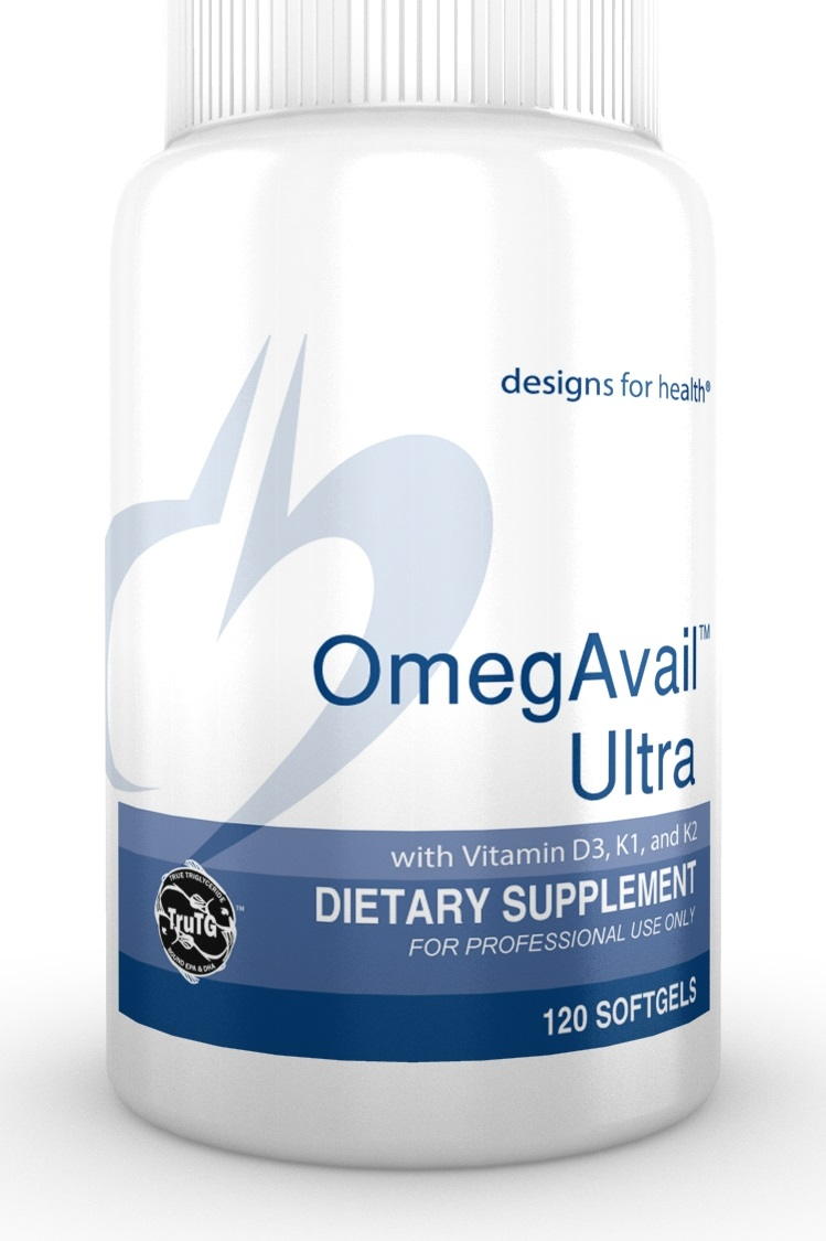 OmegAvail Ultra TG D3 K1 K2 Lipase Lemon Designs for Health