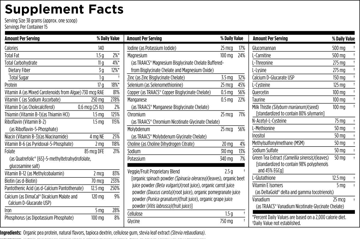 VegeCleanse Plus Powder 570 g (1.3 lbs) Designs for Health Ingredients