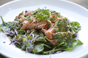 Arugula Pesto with Salmon and Greens