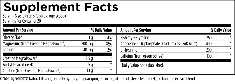 PreTrain NRG 180 g (6.3 oz) Designs for Health Ingredients