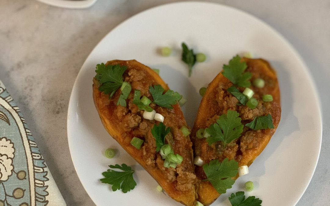 Sloppy Joe on Sweet Potato Canoes