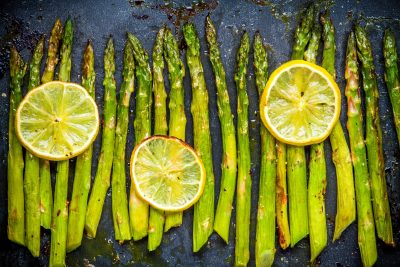 baked asparagus with lemon, clean recipe, fresh delicious, vegetarian