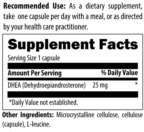DHEA Designs for Health 25mg 60 caps ingredients