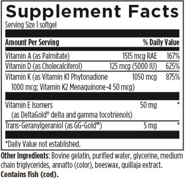 ADK Evail Designs for Health nutrition label ingredients vitamin d blend
