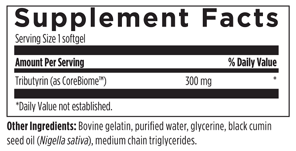 Tri-Butyrin Supreme Designs for Health butyric acid postbiotic CoreBiome label nutrition label