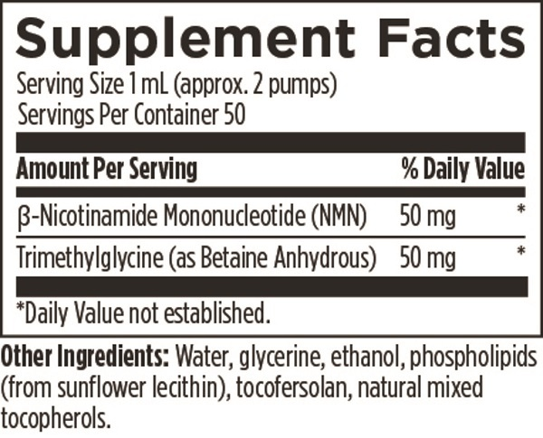 Liposomal NMN Synergy Designs for Health metabolism blood sugar nicotinamide mononucleotide trimethlyglycine supplement facts nutrition label